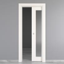 Porta da interno scorrevole Moma Vetro bianco 80 x H 210 cm reversibile