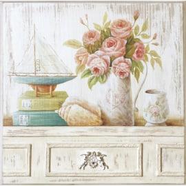 Quadro in legno Peonie rosa 30,5x30,5