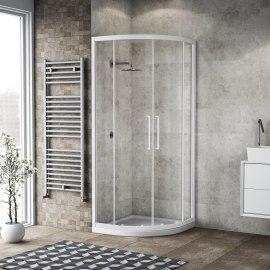 Box doccia scorrevole Record 87-89, H 195 cm vetro temperato 6 mm trasparente/bianco opaco
