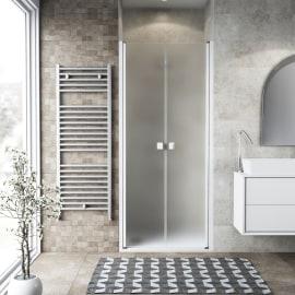 Porta doccia battente Neo 117-121, H 200 cm vetro temperato 6 mm bianco opaco