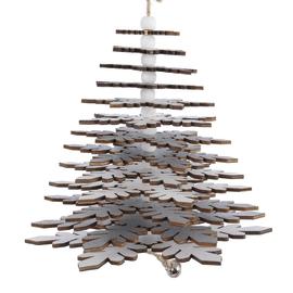 Decorazione alberello in legno effetto glitter da appendere, H 33 cm