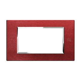 Placca 4 moduli Simon Urmet Nea Expì alluminio rosso