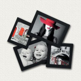 Portafoto multiplo Storty nero 4 foto