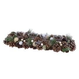 Portacandela con pigne e natura, 45 cm