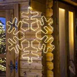 Decorazione luminosa a cristallo di neve 385 minilucciole Led classica gialla 1 m