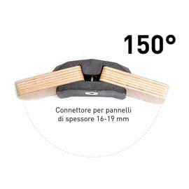 Connettore Playwood 150° per pannelli in legno in plastica hi-tech nero confezione 4 pezzi