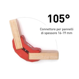 Connettore Playwood 105° per pannelli in legno in plastica hi-tech rosso confezione 4 pezzi
