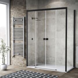Doccia con porta scorrevole a 4 ante e lato fisso Neo 177 - 181 x 77 - 79 cm, H 200 cm vetro temperato 6 mm trasparente/nero