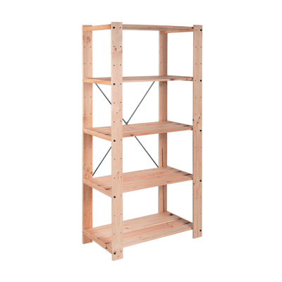 Scaffale legno evolution 5 ripiani l 76 7 x p 43 x h 174 2 for Ikea scaffali legno grezzo