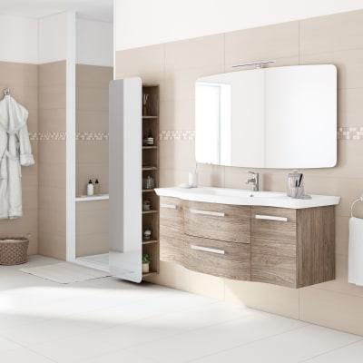 Mobile bagno contea rovere l 126 cm prezzi e offerte for Mobile bagno doppio lavabo leroy merlin