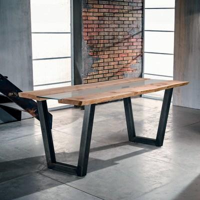 Tavolo Vertigo legno e vetro L 200 x P 85 x H 80 cm grezzo prezzi e ...
