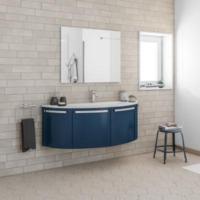 Mobile bagno round blu navy l 145 cm prezzi e offerte for Mobile bagno blu