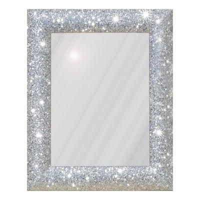 Specchio da parete rettangolare glitterata argento 62 x 82 for Specchio make up leroy merlin