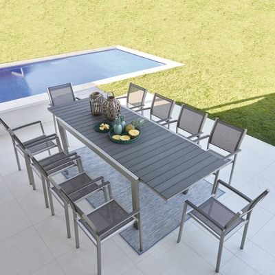 Set tavolo e sedie Albany in alluminio grigio argento 6 posti