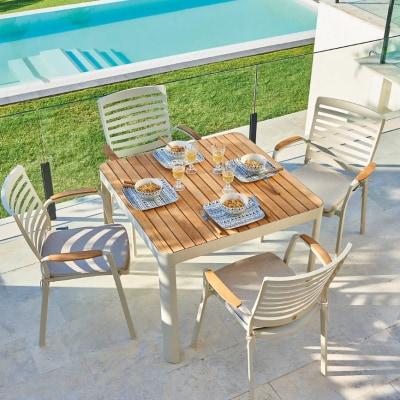 Set tavolo e sedie in alluminio Portals per 2 persone ...