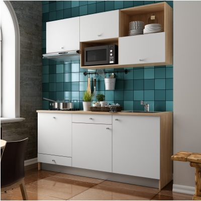 Cucina in kit one bianco l 180 cm prezzi e offerte online for Top cucina leroy merlin prezzi