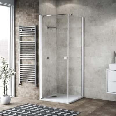Doccia con porta battente e lato fisso Neo 77 - 79 x 77 - 79 cm, H 200 cm vetro temperato 6 mm trasparente/bianco opaco