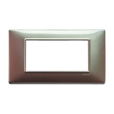 Placca 4 moduli Vimar Plana marrone micalizzato