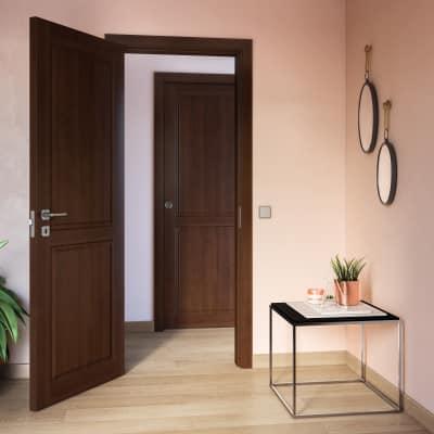 Porta da interno battente Lugano noce 80 x H 210 cm reversibile