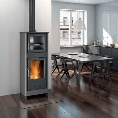 Stufa a legna con forno Savina grigio
