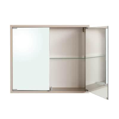 Armadietto a specchio Trady L 70 x H 62 x P  15,5 cm frassino bianco