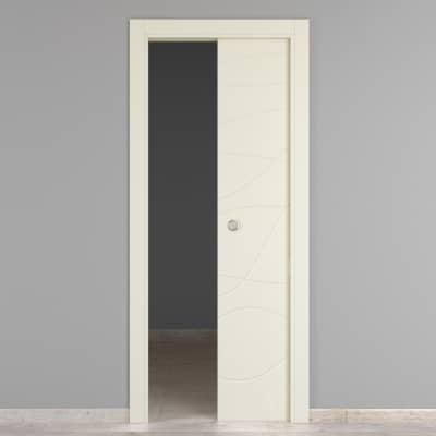 Porta da interno scorrevole Wind ivory avorio 80 x H 210 cm reversibile
