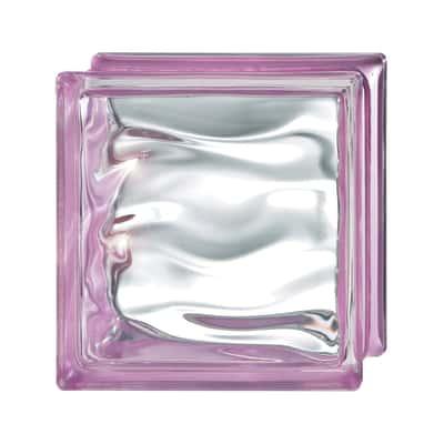 Vetromattone Agua Riflessi rosa ondulato effetto acqua 19 x 19 x 8 cm