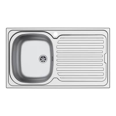 Lavello incasso Aurora L 86 x P  50 cm 1 vasca SX + gocciolatoio