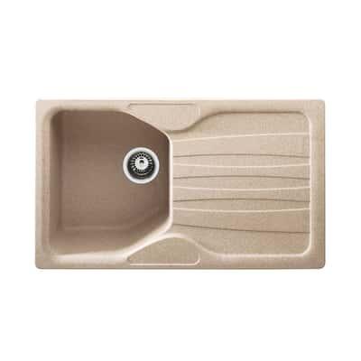 Lavello incasso Calypso avena L 86 x P  50 cm 1 vasca + gocciolatoio