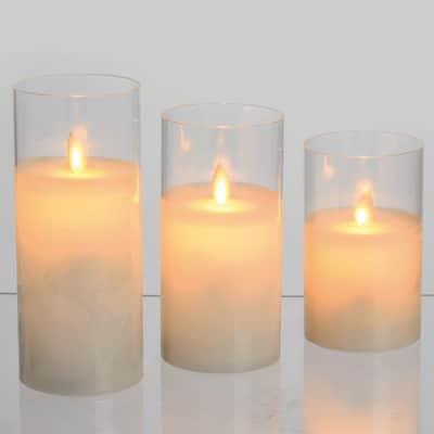 Set 3 candele 1 minilucciole Led classica gialla H 17,5 cm