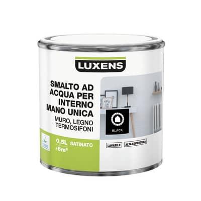 Smalto manounica Luxens all'acqua Nero satinato 0.5 L