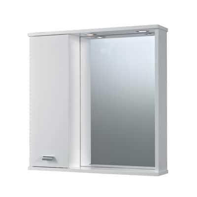 Armadietto a specchio Rimini L 73 x H 74 x P  16 cm bianco lucido