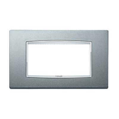 Placca 4 moduli Vimar Eikon argento matt