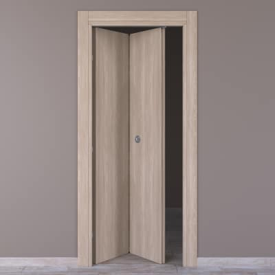 Porta da interno pieghevole Plank palissandro bianco 70 x H 210 cm sx