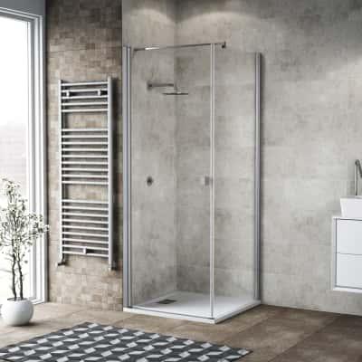 Doccia con porta battente e lato fisso Neo 91 - 93 x 77 - 79 cm, H 200 cm vetro temperato 6 mm trasparente/silver
