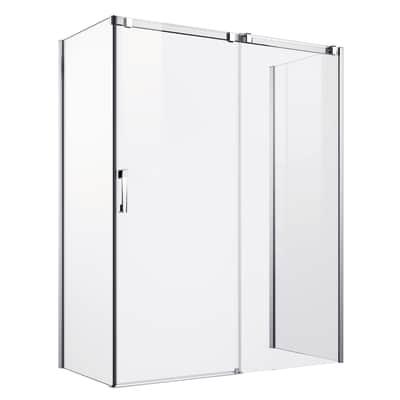 Porta doccia scorrevole Master 102-104, H 196 cm vetro temperato 8 mm trasparente/argento lucido