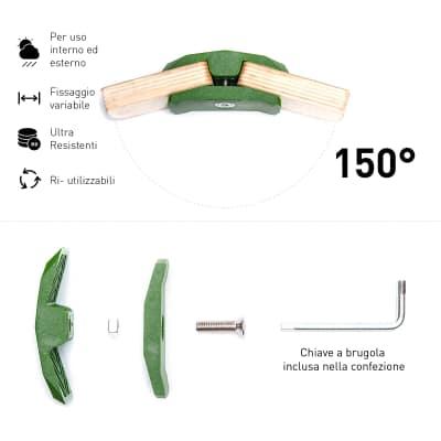 Connettore Playwood 150° per pannelli in legno in plastica hi-tech verde confezione 4 pezzi