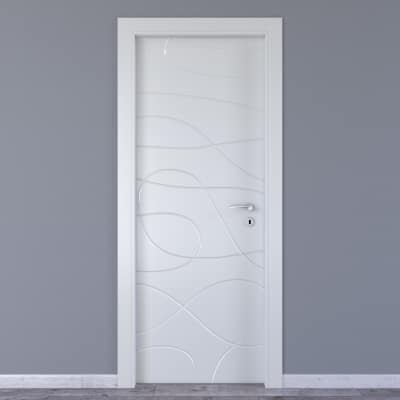 Porta da interno battente Wind white bianco 60 x H 210 cm sx