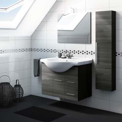 Mobile bagno Ginevra rovere scuro L 81 cm