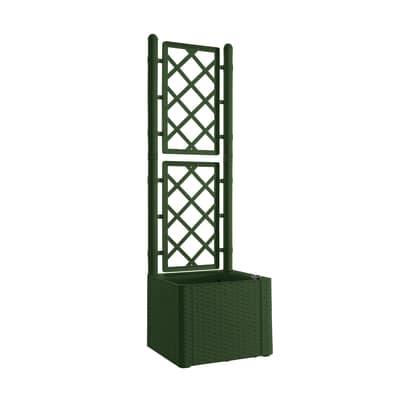 fioriera deluxe con grigliato stefanplast 43 x 43 cm verde