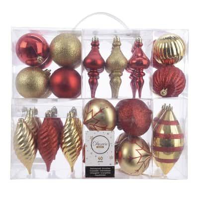 Box pendenti rosso e oro misure assortite