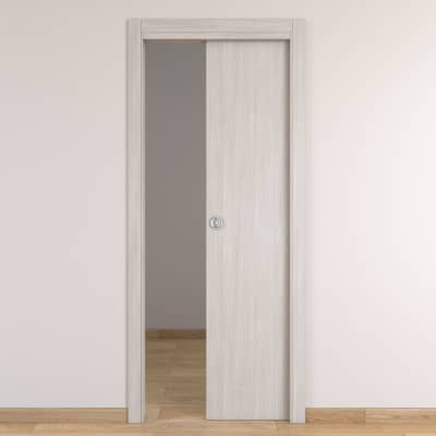 Porta da interno scorrevole Brooklyn frassino bianco 90 x H 210 cm reversibile