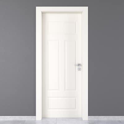 Porta da interno battente Coconut Groove bianco 80 x H 210 cm sx