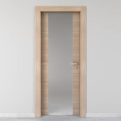 Porta da interno battente Ritz Vetro Rosa del deserto 70 x H 210 cm sx