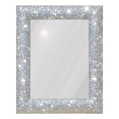 specchio da parete rettangolare glitterata argento 62 x 82