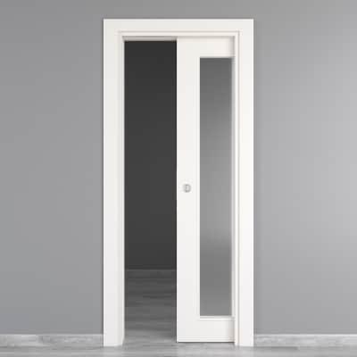 Porta da interno scorrevole Moma Vetro bianco 80 x H 210 cm ...
