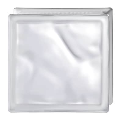 Vetromattone bianco ondulato satinato 19 x 19 x 8 cm