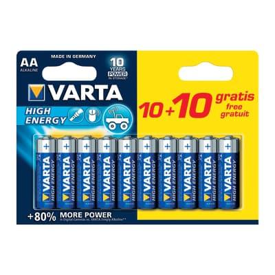 Pila alcalina stilo AA Varta High energy 10+10 Free