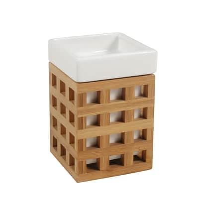 Bicchiere porta spazzolini Fudji in ceramica bianco