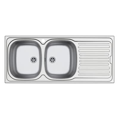 Lavello da incasso Aurora 116 x 50 cm 2 vasche con gocciolatoio